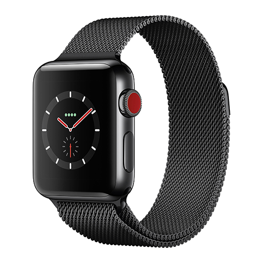 Hakse - Apple Watch Series3-38mm-Stainless-Steel-(Milanese-Loop)-Black